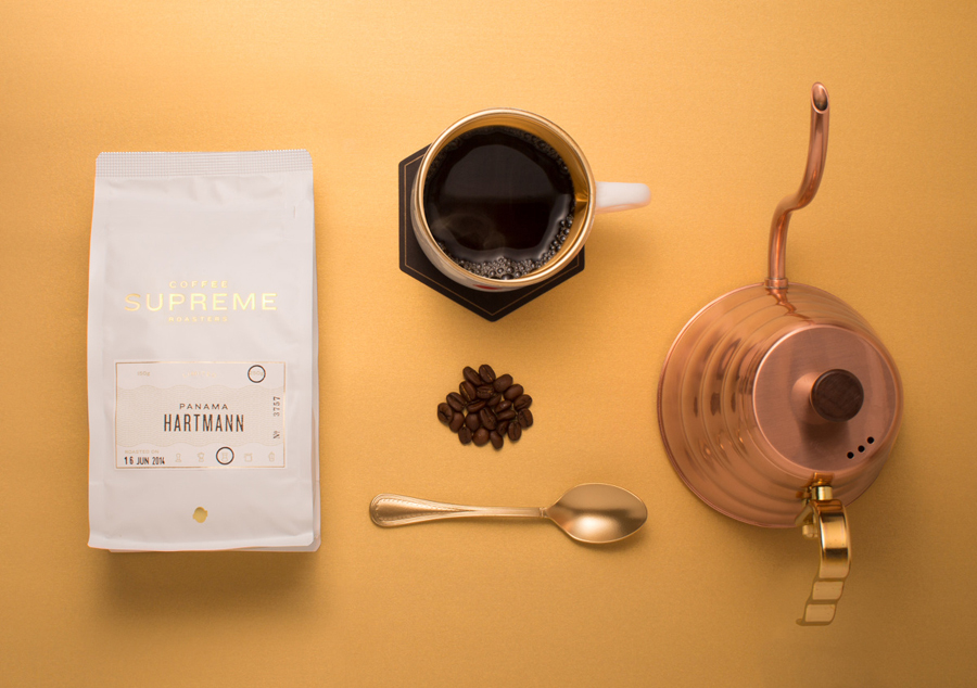 Coffee packaging with coloured card and gold foil detail designed by Marx Design for independent roaster Coffee Supreme