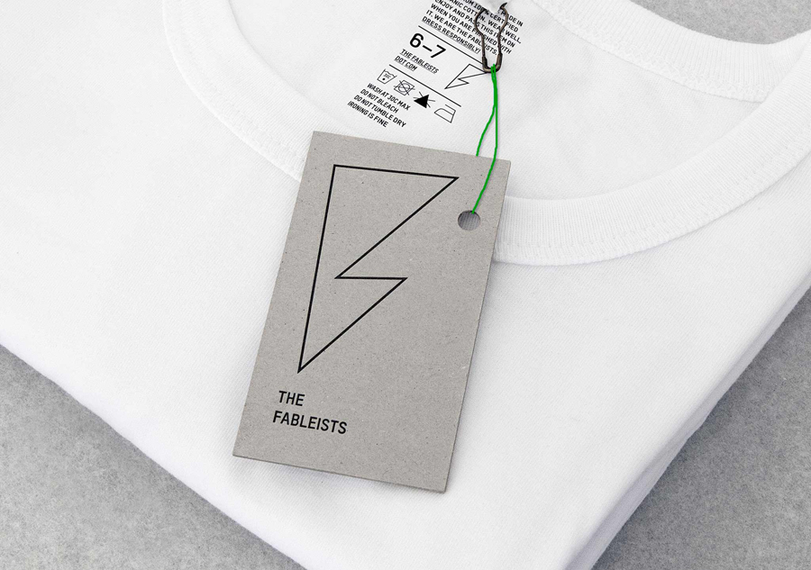 Logo and uncoated, unbleached tag for children's fashion brand The Fableists designed by Freytag Anderson featured on BPO