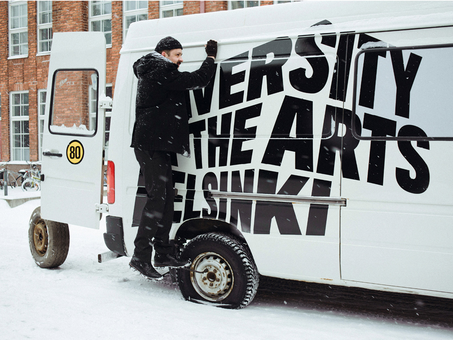 Van livery designed by Bond for the University of the Arts Helsinki designed by Bond