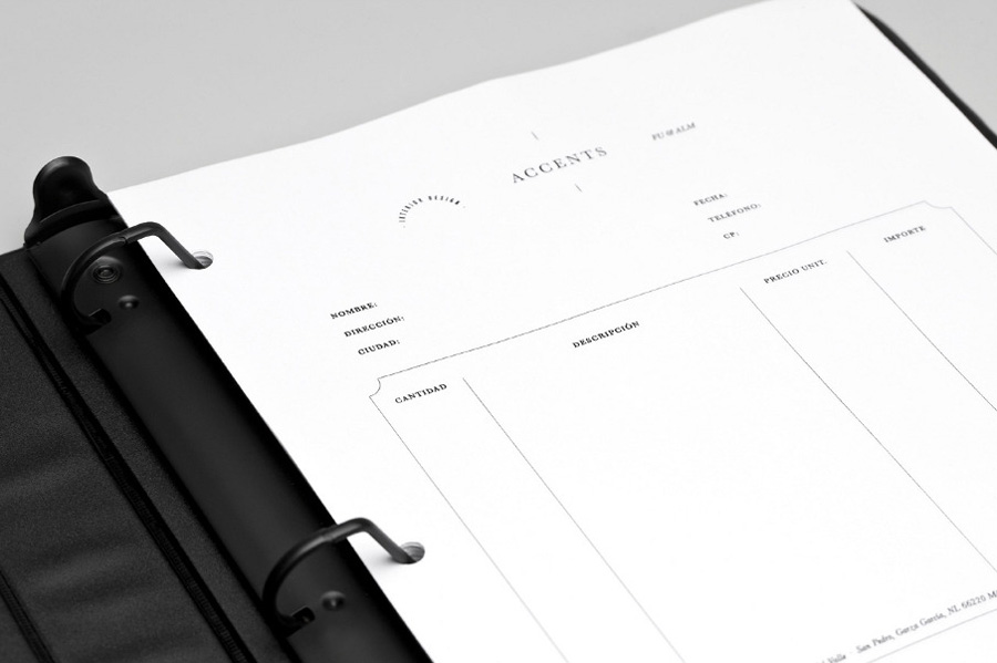 Logo and order form designed by La Tortilleria for home furnishing retailer and interior design service Accents