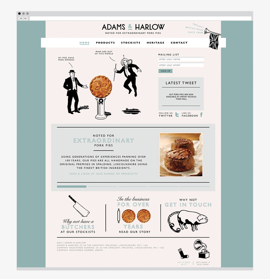 Website created by Designers Anonymous for Lincolnshire made pork pie brand Adams & Harlow