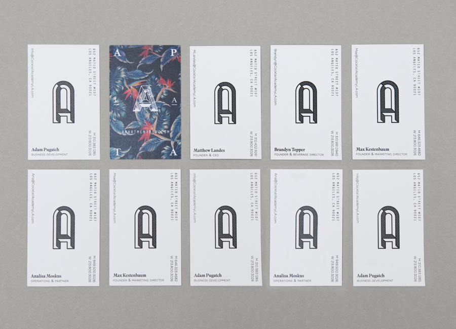 Business cards for art gallery, bar and cocktail academy Apartment A designed by Say What Studio