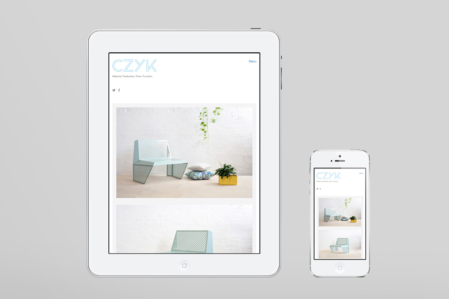Logo and responsive website designed by Longton for industrial design practice CZYK