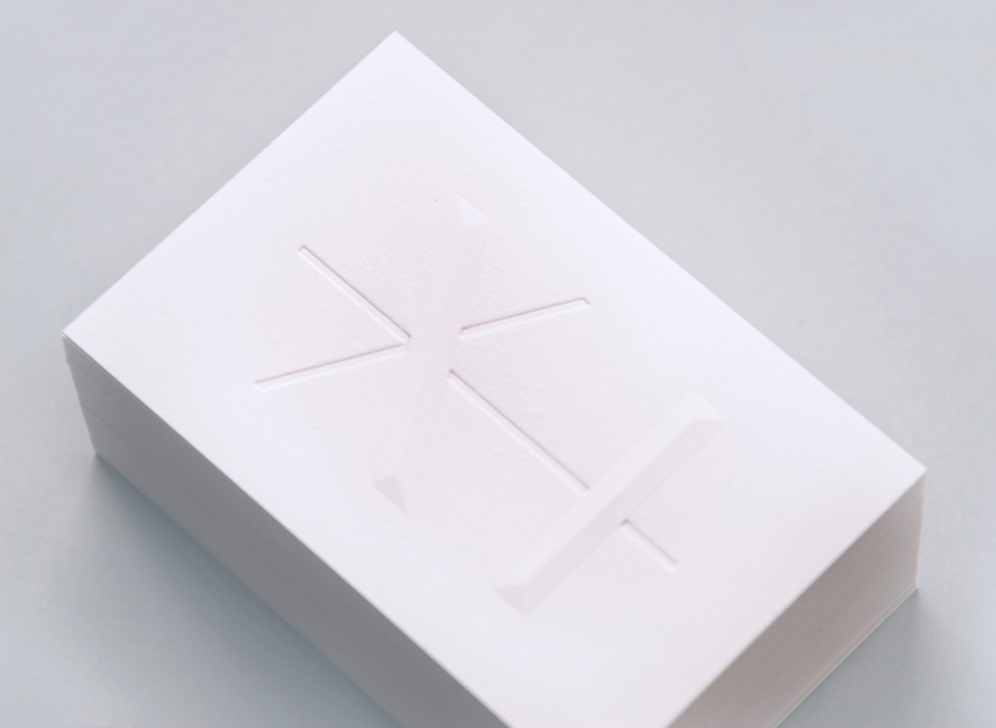 Business card with blind sculpted emboss detail designed by Construct for luxury fashion and homeware store Celestine Eleven