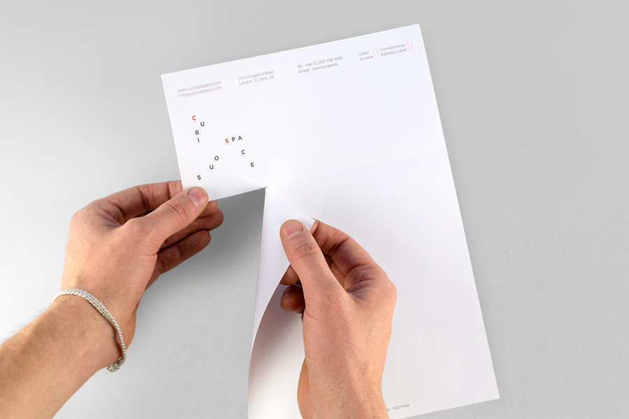 Letterhead and compliment slip with perforated detail designed by Mash Creative and May Ninth for specialist scene setter Curious Space