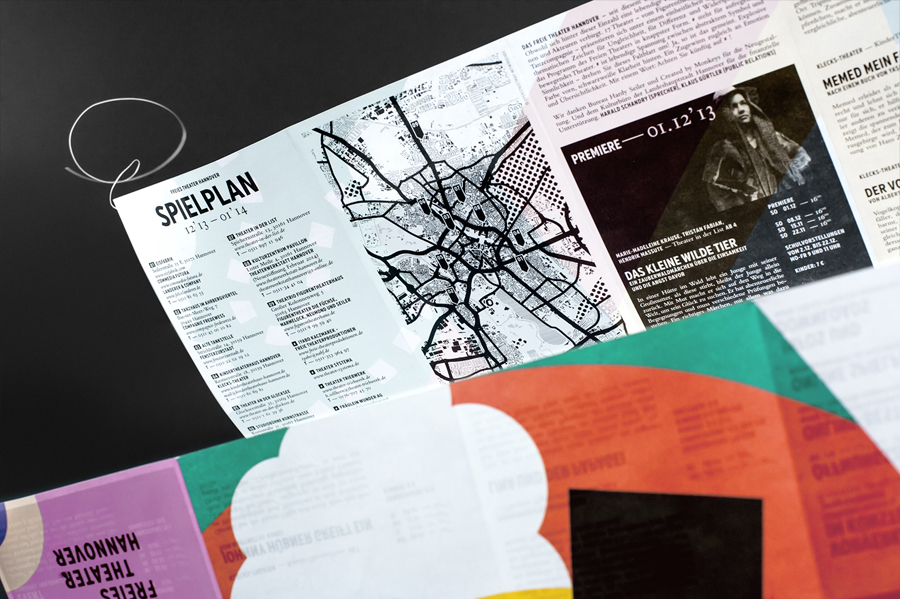 Mailer with bright illustrative detail for Freies Theater Hannover by Bureau Hardy Seiler