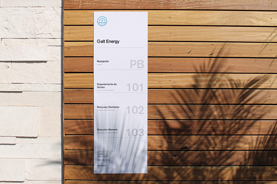Visual identity and signage for Galt Energy designed by Firmalt