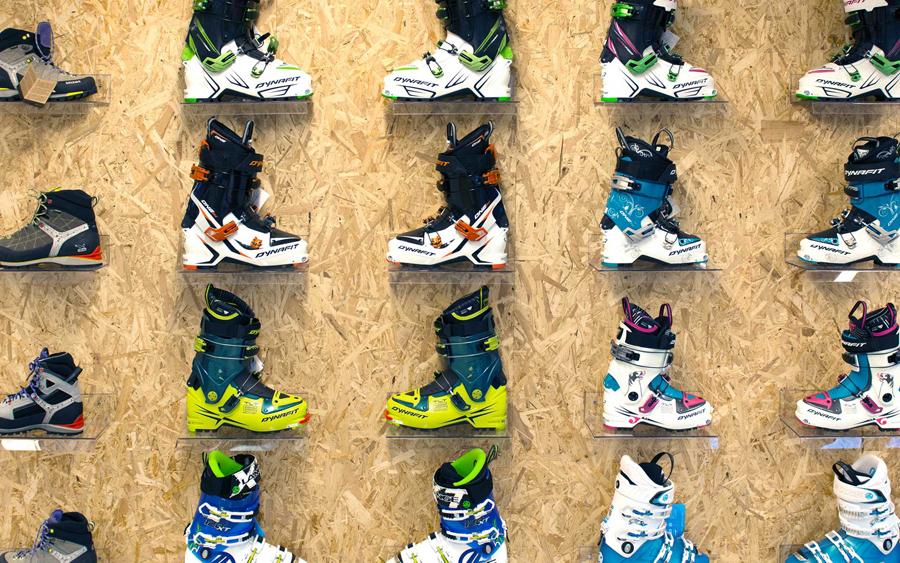 Chipboard wall for mountain sports retailer Hardhaus
