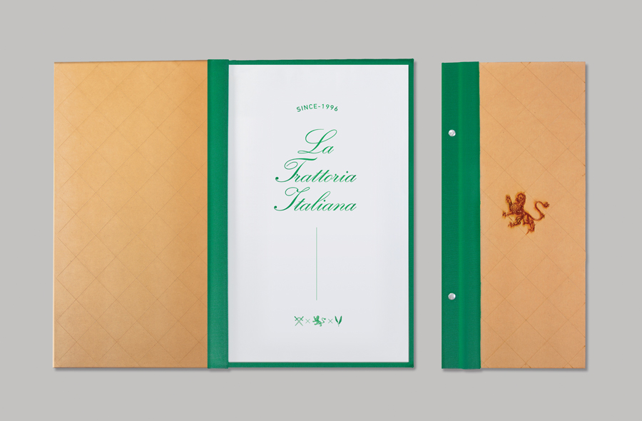 Menu with heat treated detail for Monterrey-based traditional Italian restaurant Iannilli designed by Savvy