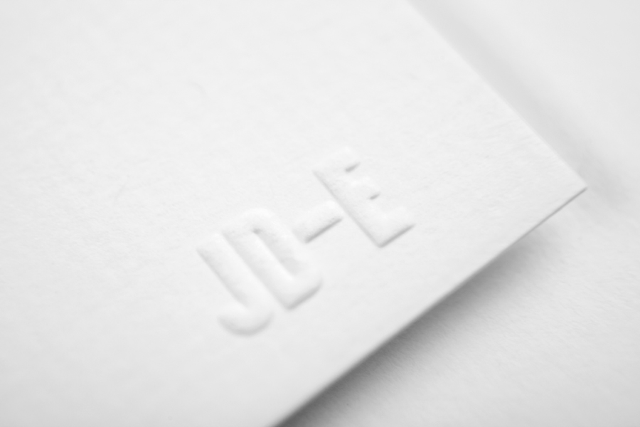 Logo as a blind emboss detail created by Savvy for Monterrey based industrial designer and studio Jorge Diego Etienne