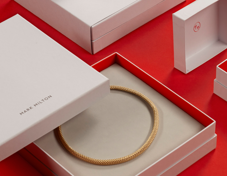 Visual identity and packaging designed by ico for curated jewellery brand Mark Milton