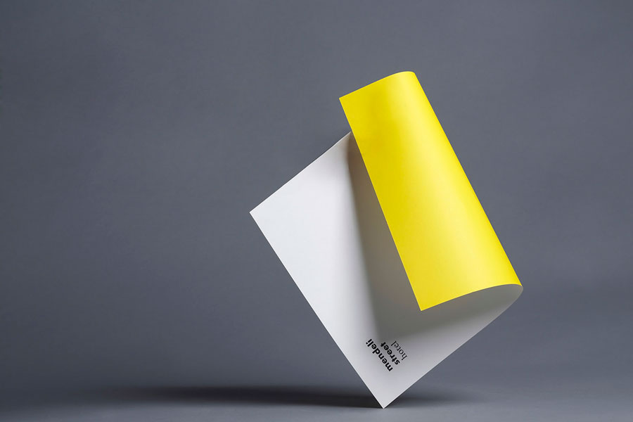 Headed paper with bright yellow reverse created for Tel aviv hotel Mendeli Street designed by Koniak