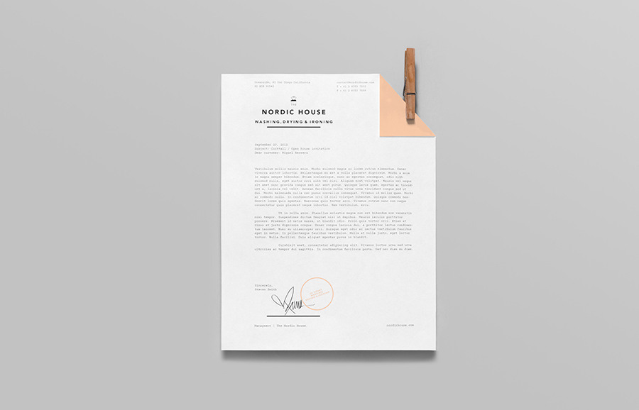 Logo and letterhead designed by Anagrama for dry cleaning shop Nordic House