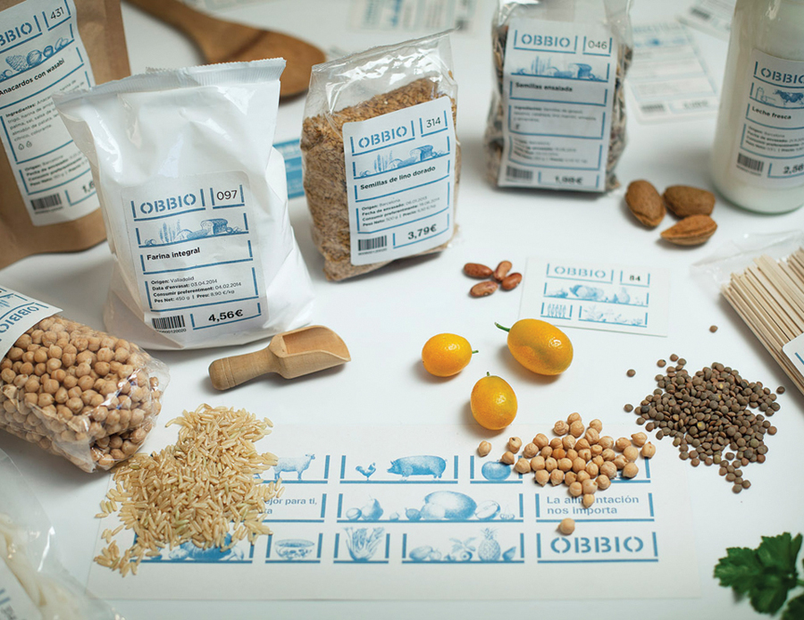 Packaging designed by Mayuscula for Spanish organic supermarket Obbio