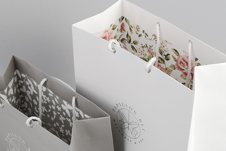 Bags with floral interior walls designed by Sciencewerk for Indonesian spa Papillon Blu