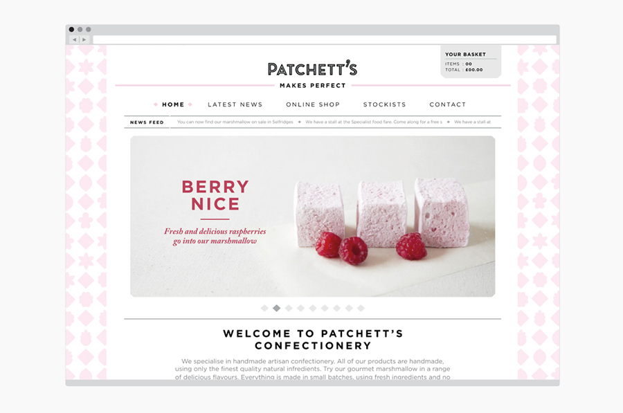 Website for gourmet confectioner Patchett's marshmallow range created by Designers Anonymous