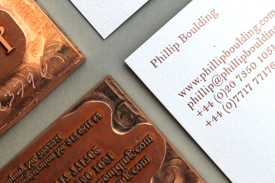 Duplex business card with copper foil detail designed by Stylo for jewellers Phillip Boulding