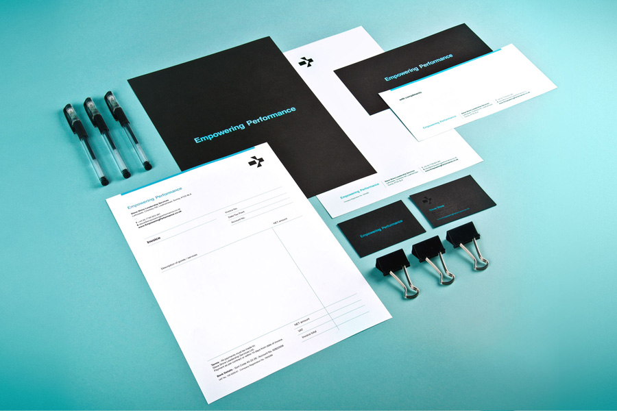 Logo and stationery set with deboss foil detail designed by Analogue for management professional Steve Shine