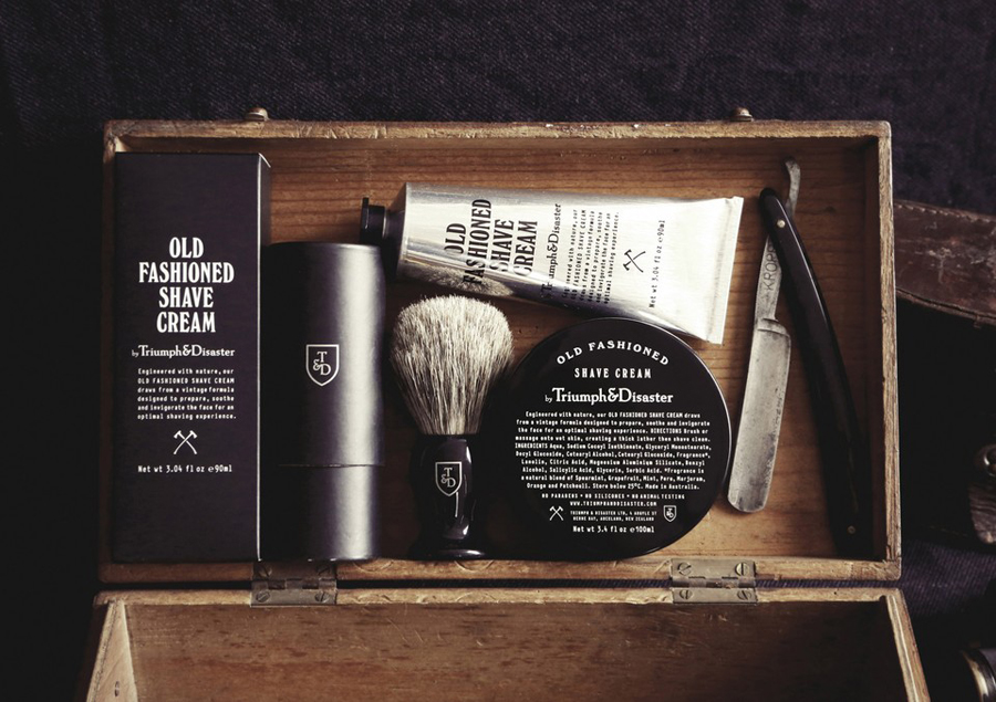 Packaging for male skincare and accessory range Triumph & Disaster designed by DDMMYY