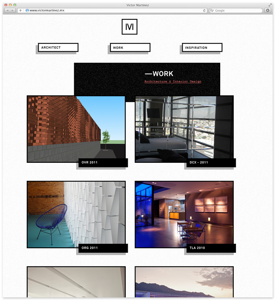 Logo and website designed by Face for architect and studio founder Victor Martinez