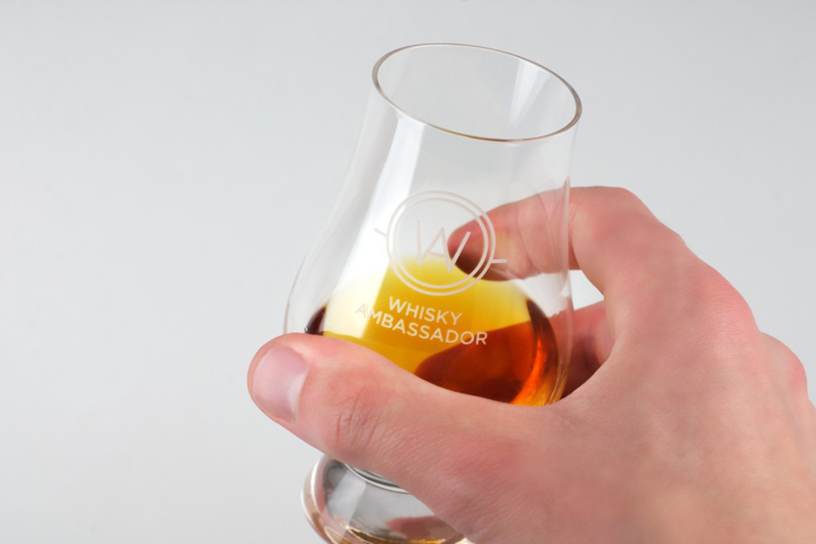 Logo and printed whisky glass designed by O Street for Whisky Ambassador