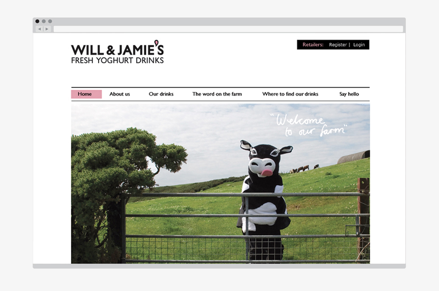 Logo and website created by Designers Anonymous for fresh yoghurt drink brand Will & Jamie's