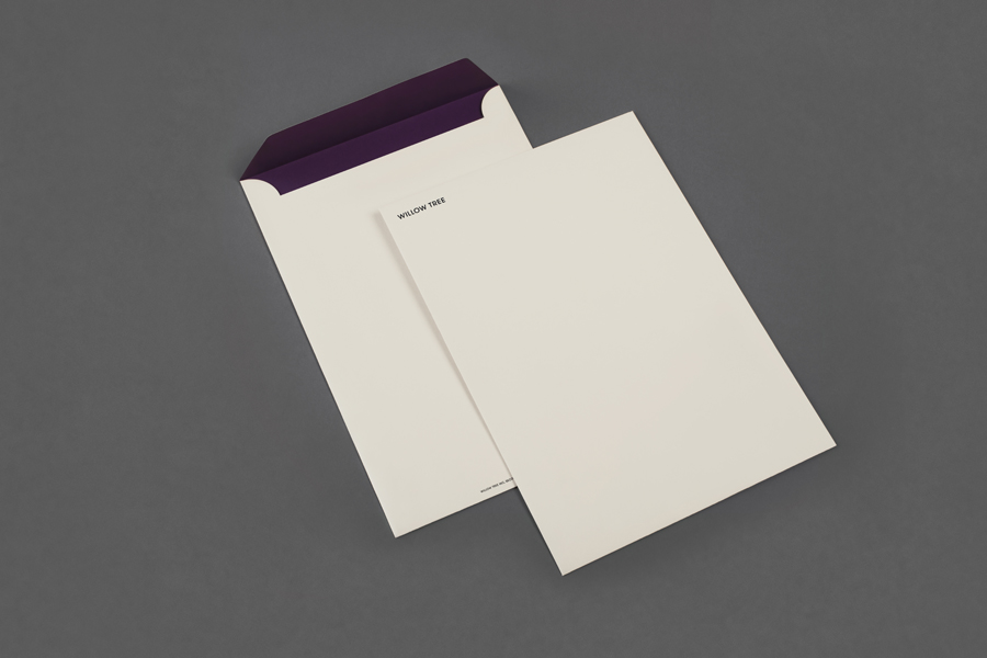 Monogram and envelope design by Bunch for business consultancy Willow Tree