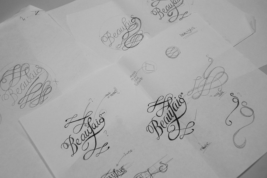 Script sketch work by Parent for luxury lingerie brand Beaujais