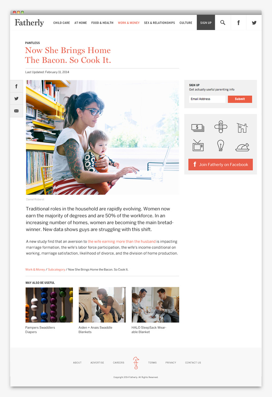Visual identity and website designed by Apartment One for dad-centric parenting media platform Fatherly