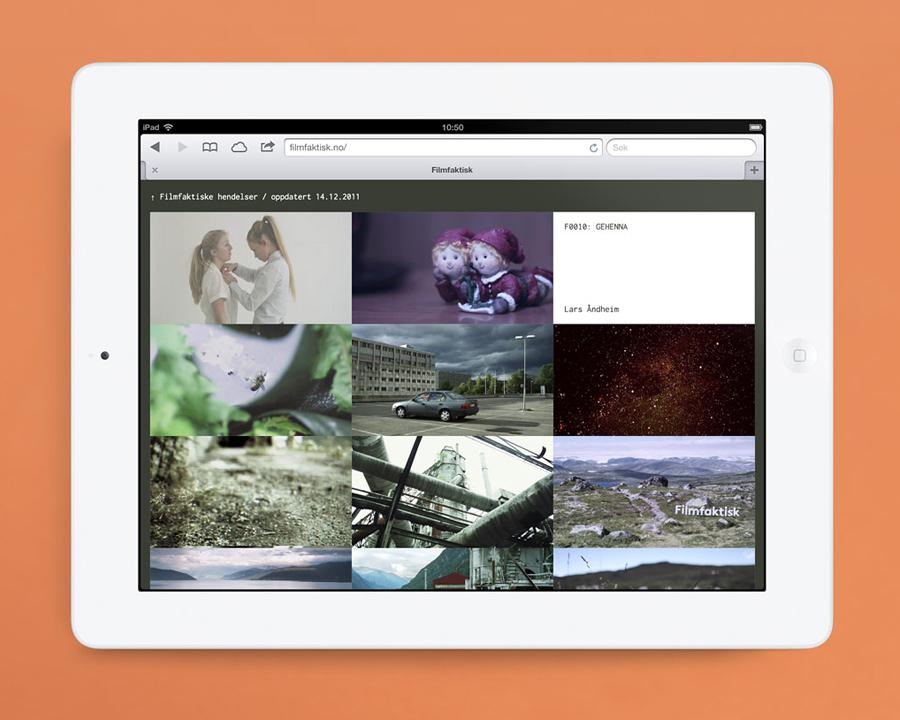 Logo and mobile website for Norwegian, location-focused filmmakers Filmfaktisk designed by Heydays