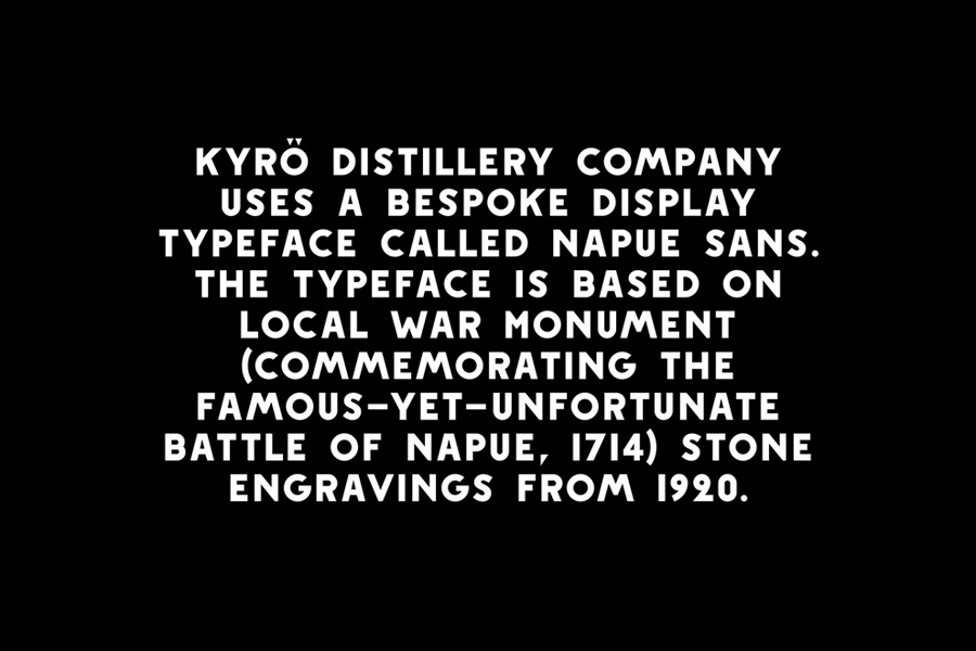 Custom typeface designed by Werklig for Kyrö Distillery Company