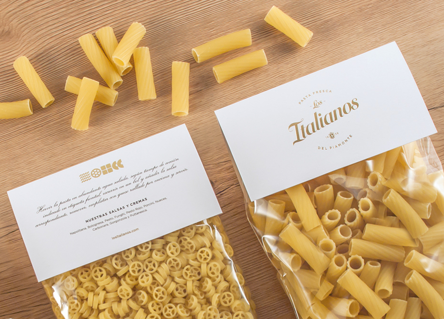 Logo and packaging with gold foil detail designed by Huaman for Barcelona based traditional Italian food producer Los Italianos