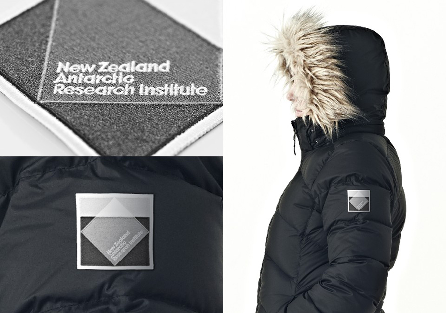 Logo as a stitched badge detail created by BRR for New Zealand Antarctic Research Institute