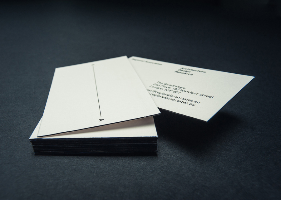 Business card designed by Commando Group for architecture and research consultancy Regional Associates