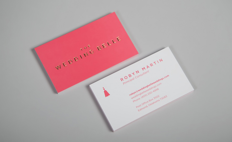 Logo and business card with pastel colour and white duplex boards and gold foil detail designed by Ghost for wedding planner The Wedding Belle
