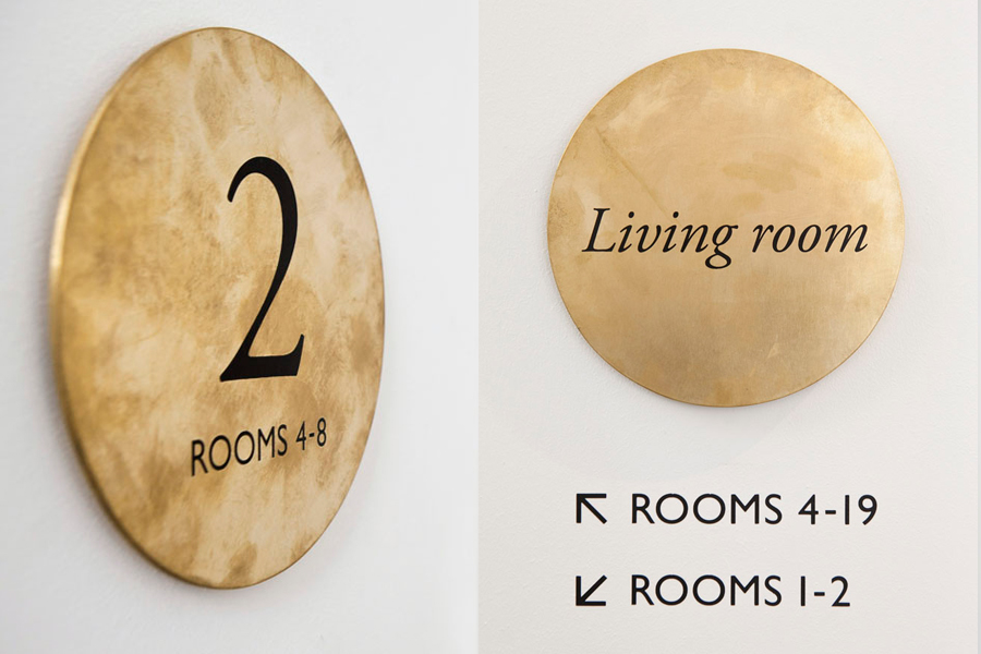 Interior bronze signage for Tel Aviv hotel Townhouse designed by Koniak