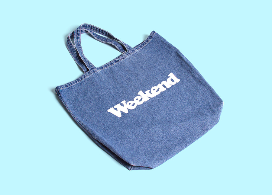 Logo and screen printed denim bag designed by RoAndCo for Dallas coffee shop Weekend