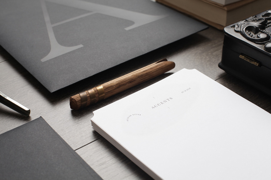 Logo, folder and headed paper designed by La Tortilleria for home furnishing retailer and interior design service Accents