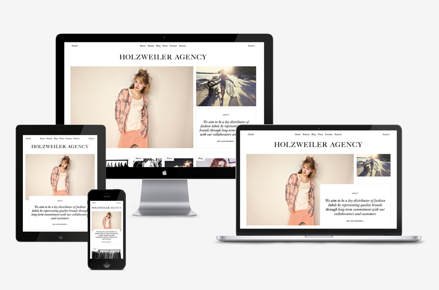 Logo and website designed by Bielke+Yang for contemporary fashion distributor Holzweiler