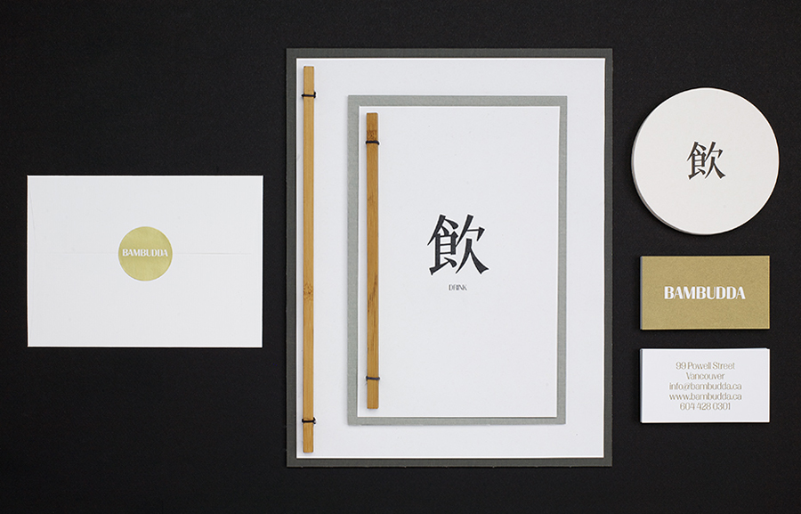 Menu and business card with metallic gold spot colour print finish by Post Projects for Vancover-based Chinese restaurant Bambudda