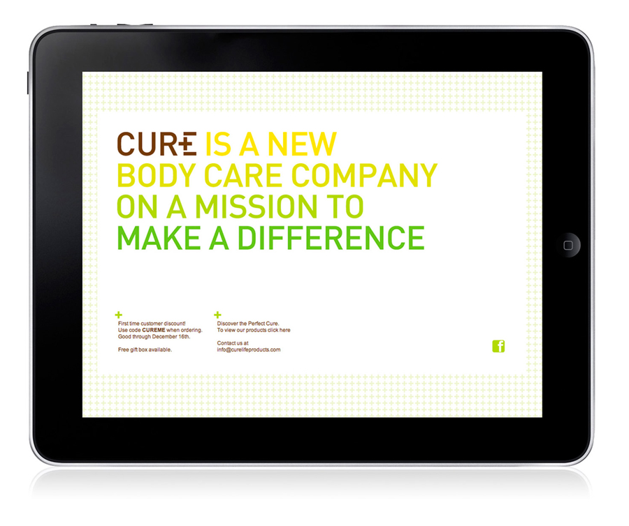 Logo and website designed by Mucho for Californian based handcrafted body care company Cure