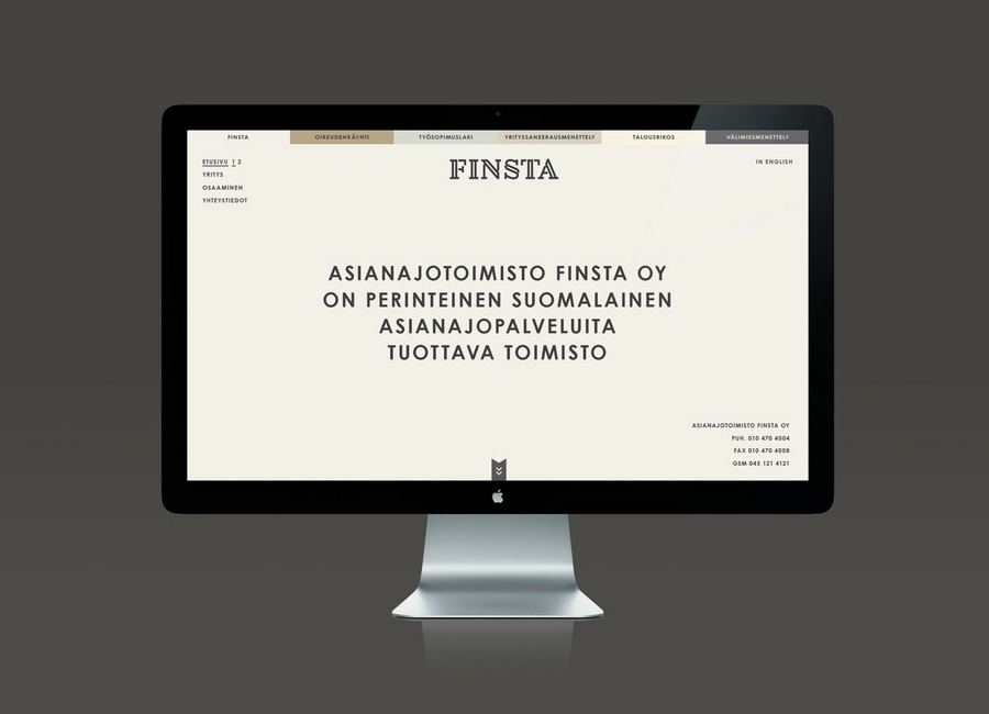 Website designed by Werklig for Finish law firm Finsta