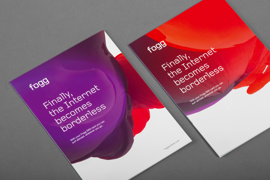 Brand identity and print created by Kurppa Hosk and Bunch for international fixed cost mobile data traffic service Fogg