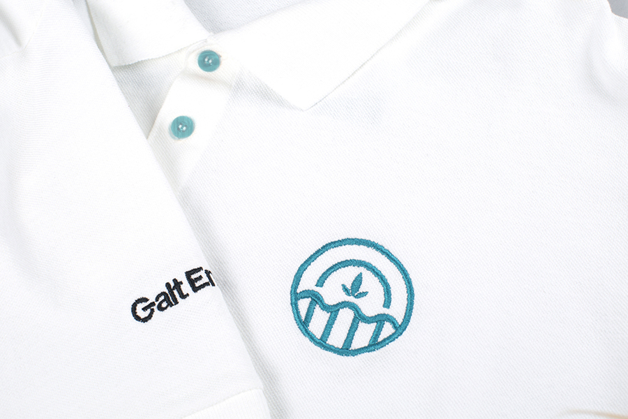 Visual identity and stitched T-shirt for Galt Energy designed by Firmalt