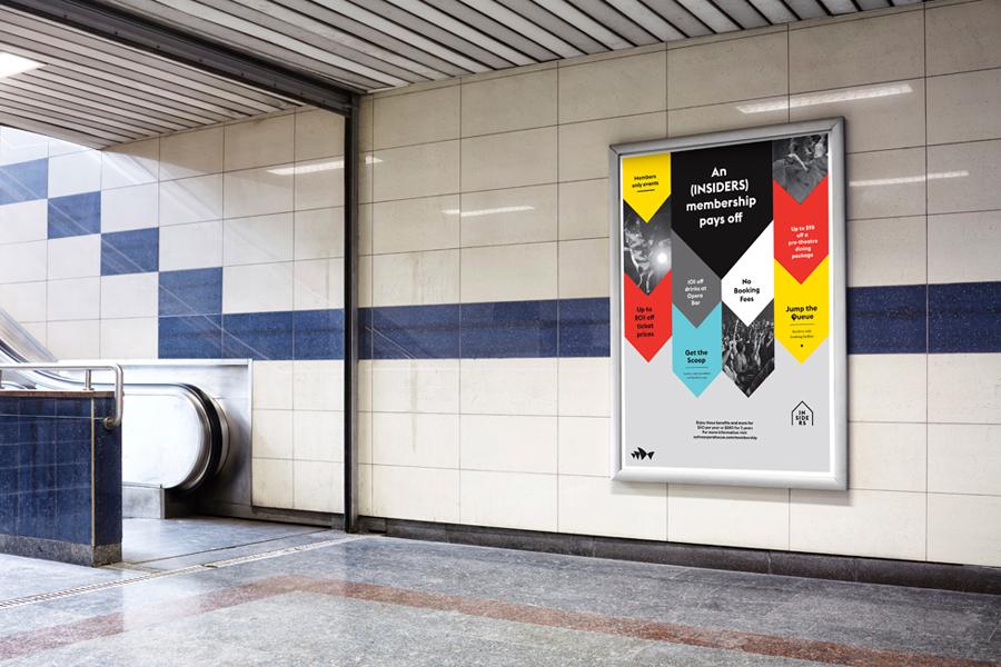 Logo and outdoor advertising designed by Naughtyfish for Sydney Opera House's membership program Insiders