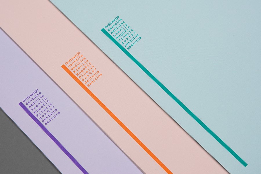 Logo and headed paper with spot colour detail designed by Studio8585 for Croatian dental practice run by Dr. Ksenija Magašić Pinezić