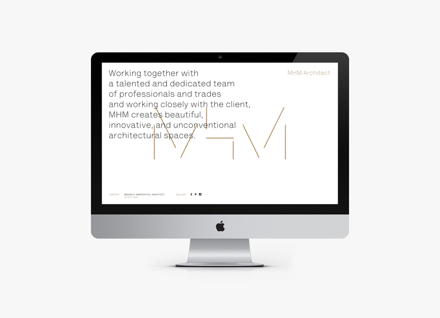 Website for MHM Architects designed by 26 Lettres