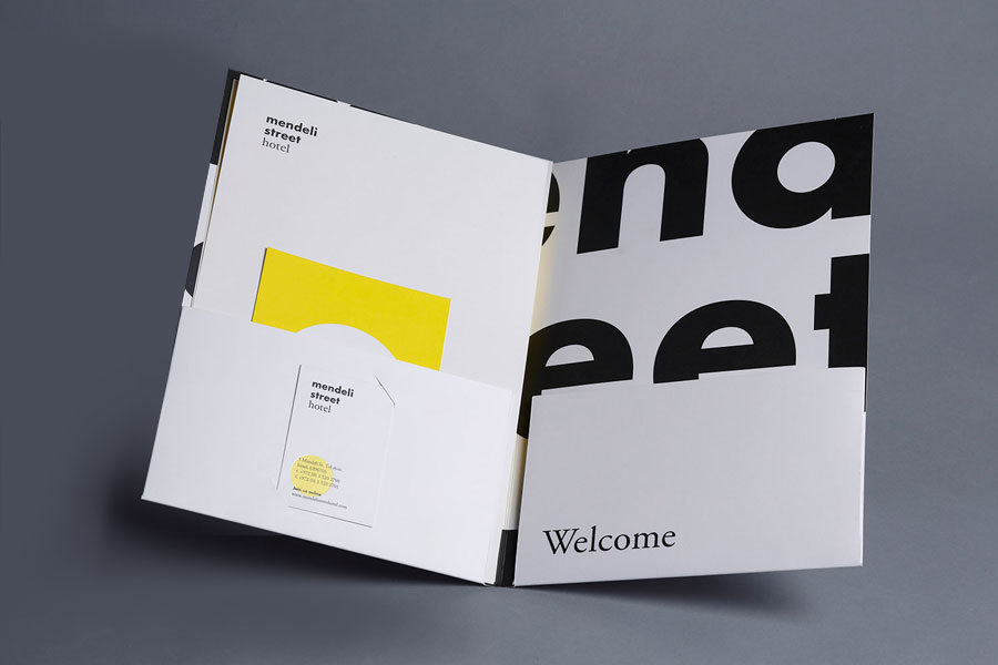 Folder created for Tel aviv hotel Mendeli Street designed by Koniak