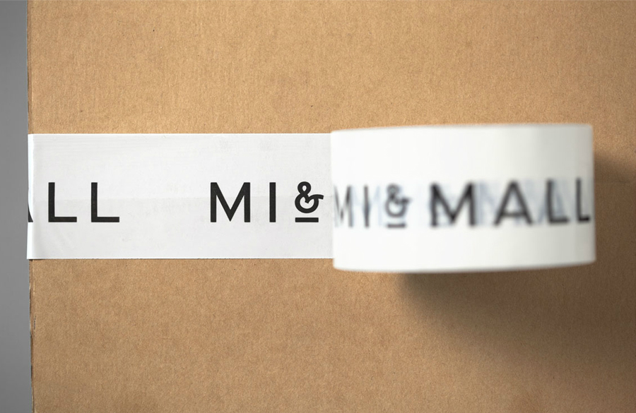 Logo and box tape design by Atipo for online fashion retailer Mi&Mall