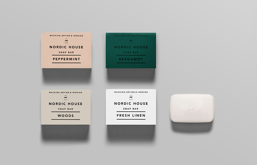 Logo and soap packaging designed by Anagrama for dry cleaning shop Nordic House